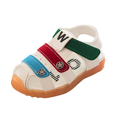 SOMESUN Fashion Baby Jungen Sandalen Kinder Hohl Anti-Rutsch Kunstleder Weiche Sohle Beiläufig Freizeit Strand Single Star Schuhe Sneaker (EU20, Weiß) (Kleinkinder Jordan Schuhe Für Mädchen)