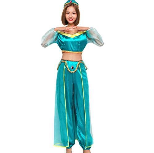 Kostüm Adult Jasmine - Mitef Aladdin Jasmine Prinzessin Cosplay Kostüm für Halloween Parfümanz - grün - XX-Large