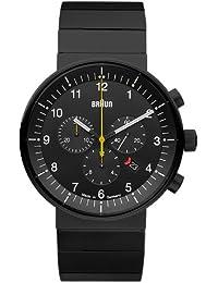Montres Braun Prestige Chrono noire bracelet acier-Montre analogique