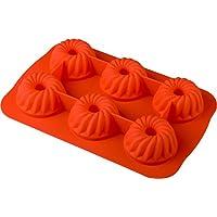 baekka Muffin-Backform Gugelhupf orange 6er Form, Silikon-Backform