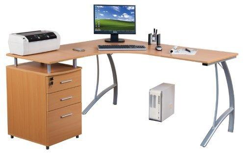 Computer-Eck-Schreibtisch CASTOR buche silber mit Standcontainer, 151/143 x 76 x 55 cm, Drucker-Podest, robust gefertigt, einfacher Aufbau, PC-Workstation 673400 hjh OFFICE