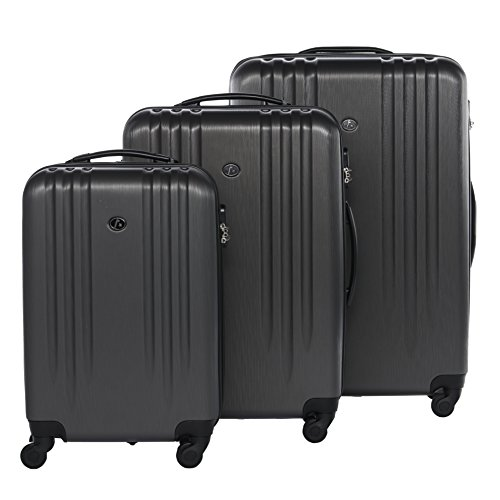 FERGÉ Kofferset Hartschale 3-teilig Marseille Trolley-Set - Handgepäck 55 cm L XL - 3er Hartschalenkoffer Roll-Koffer 4 Rollen Dure-Flex grau