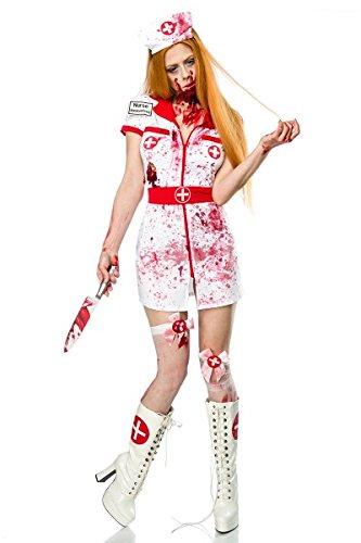 Damen Zombie Krankenschwester Kostüm Set Verkleidung Horror Nurse Minikleid, Weiß Rot, XS-M (Zombie Krankenschwester Kostüm)