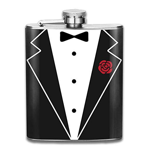 Black Flask Gentleman Bow Tie Pocket Leak Proof Liquor Hip Flask Alcohol Flagon 304 Stainless Steel 7OZ Gift Box Outdoor