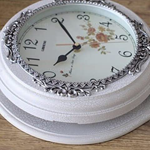 YUENLONG Relojes retros de arte reloj reloj creativo europeo clásico antiguo reloj de pared relojes de mesa la serie living comedor Cruz negro H060M,Ancla blanca
