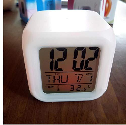 Ruluti 1PC Multi-Funktions-FarbwüRfel Wecker, LED-Licht-ÄNderungs-Digital-Wecker LED-Uhr-Licht Thermometer Desktop Clock