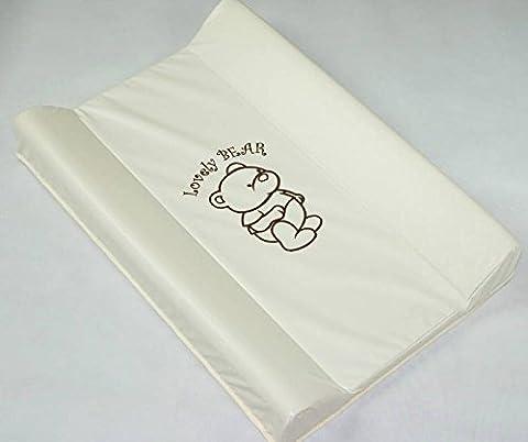 Hard Boden Baby Wickelunterlage/Einheit (Kinderbett Top Changer 70x 50cm) Lovely Bear–Creme