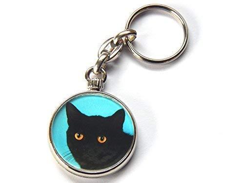 Moody Motorz European Kurzhaar Schwarzer Rauch Katze Kätzchen Hochwertig Chrom Schlüsselring Bild Beide Seiten