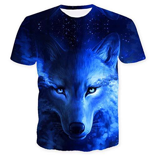 ISAAC ENGLAND Wo Licht und Dunkelheit Sich treffen T-Shirt des Wolfs 3D Top T Kurzarm-Rundhals-T-Shirt Mode-T-Shirt 4 Color-M, Blau