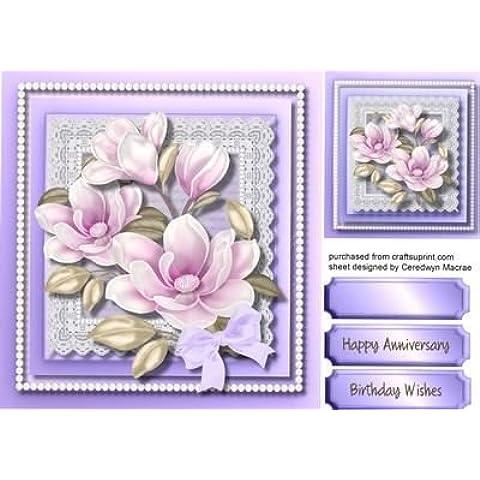 Diseño de morado Magnolias de encaje con perlas para diseño de hojas de, by Ceredwyn Macrae