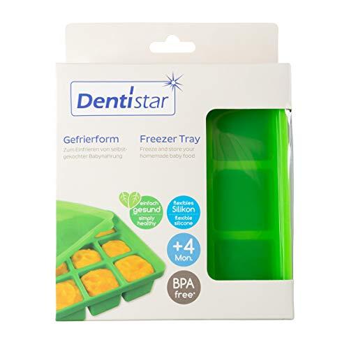 Dentistar® Gefrierform zum Einfrieren und Aufbewahren von selbstgekochter Babynahrung und Muttermilch - für 9 Mahlzeiten zu je 60ml - stapelbar durch praktischen Silikondeckel - BPA frei