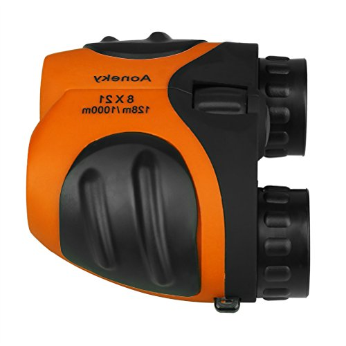 Aoneky Compact Mini Rubber 8 x 21 Kids Binoculars for Bird Watching, Best Christmas Gifts for Children, Recommended for Boys Age 3 to 11 Years Old, Orange