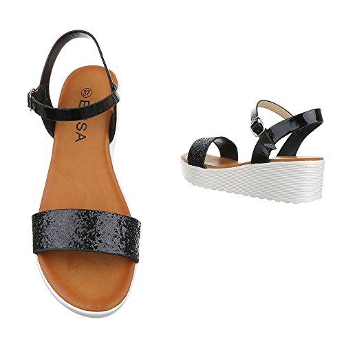 Ital-Design - Sandali alla schiava Donna Nero