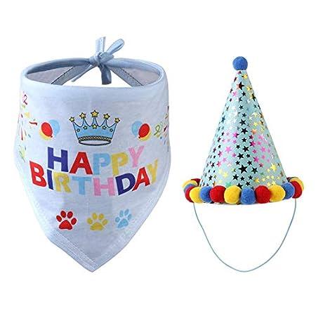 Haustier Hund Geburtstag Hunde-Halstuch Und Hat,Happy Birthday Bandana-Schals Und Niedlichen Partyhut Für Hunde Pet Geburtstag Geschenk Dekorationen Set Für Kleine, Mittelgroße Und Große Hunde Katzen