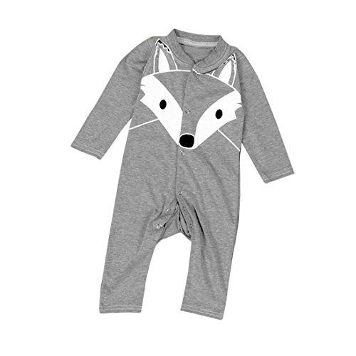 Hunpta Neugeborenes Baby jungen Mädchen Cartoon Print Langarm Strampler Outfits Kleidung (80CM, (Outfits Wolf)