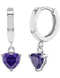 7d7d5e809077 Pendientes colgantes de plata de ley 925 con forma de corazón pequeño para  niñas y adolescentes