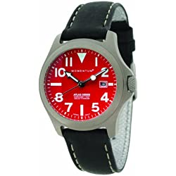 Momentum Atlas Women's Quartz Watch with Red Dial Analogue Display and Black Leather Strap 1M-SP01R2B