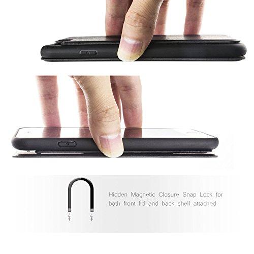 Nouske Étui en cuir pour Apple iPhone 7 iPhone 8, à rabat Folio S View avec fenêtre Cover Coque TPU, avec Support Protection intégrale, Rose d'or Noir