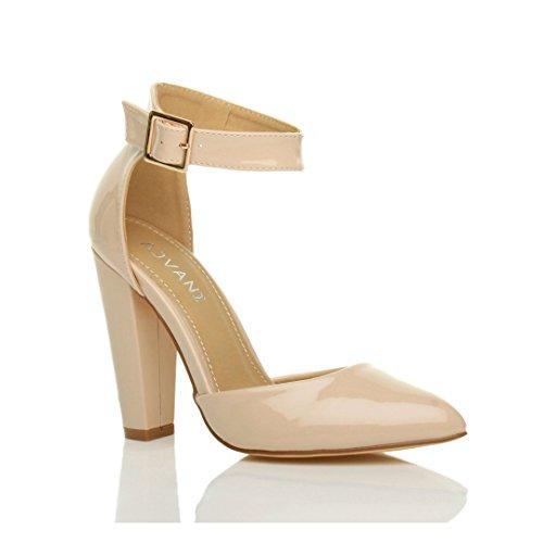 Damen Hochblockabsatz Mode Schnalle Spitz Pumps Knöchelriemen Schuhe Größe Beige Lack