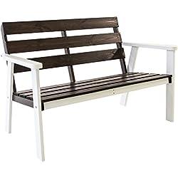 Java Exclusiv - Banco de jardín de 2 plazas, madera maciza, color blanco y gris