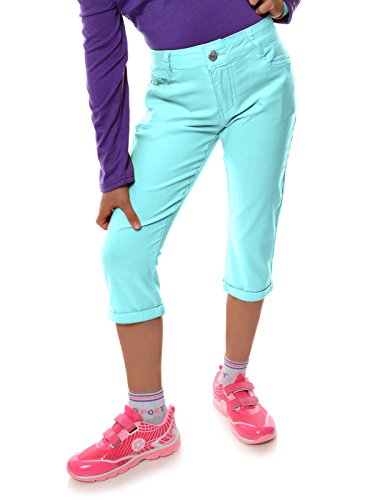 Mädchen Kinder Kurze Hose Strech Capri 3/4 Stoff Shorts Skinny 22142, Farbe:Türkis, Größe:164 (Kleid Cargo)