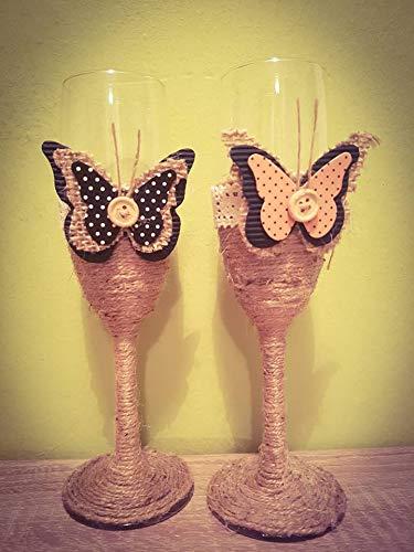 kleinen Toasten Flöten, Champagner Sackleinen Schmetterling Hochzeit Gläser Set, Braut und Bräutigam Toasten Gläser, Toasten rustikalen Gläser ()