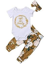 Ropa Bebe Niña Recién Nacido Niña Peleles Monos de Manga Corta + Floral Pantalones + Venda