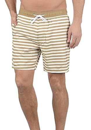 Blend Leo Herren Badehose Badeshorts Schwimmshorts Mit Kordel Und Streifenmuster, Größe:S, Farbe:Sand Brown (75107)