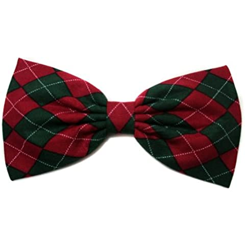 Christmas Red & Green Argyle Hair Bow (Alligator Clip) by EmilyRose (Argyle Bow Bow)
