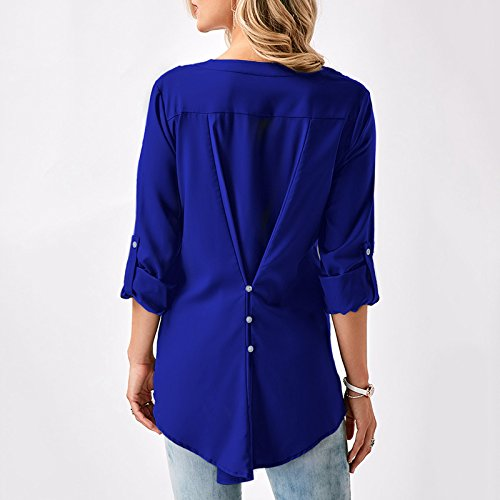 iShine V-Ausschnitt Damen Hemd mit Spitze Pullover Slim Langarm T-Shirt Midi Jacke Unregelmäßige Saum Top für Frühling Herbst Winter Blau