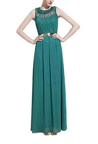 Minetom Donne Summer Prom Sera Vestito Chiffon Maxi Vestito Da Partito Spiaggia ( Senza Cinghia ) ( Vino rosso ) Verde