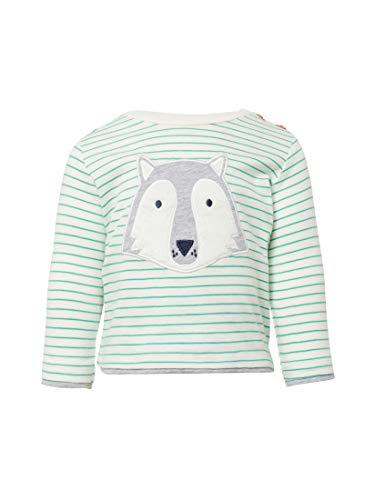 TOM TAILOR für Babies, für Jungen T-Shirts/Tops Langarmshirt mit Wolfs-Print y/d Stripe|Multicolored, 74 - Baumwolle Bestickt Verziert Top