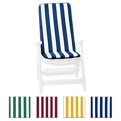 Cuscino copri sedia UNIVERSALE morbido seduta poltrona sdraio tessuto cotone per piscina mare giardino mod.IBIZA FASCIATO BLU