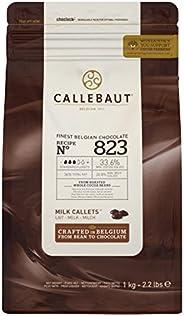 CALLEBOT Receipe nr. 823 - Enkeldeurs Callets, Vollme chocolade, 33,6% cacao, 1kg - 1 stuk