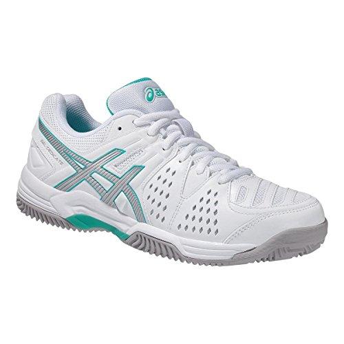 Asics Damen Tennis Schuhe Gel-Dedicate 4 Clay E558Y White/Silver/Mint 40.5