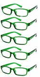 4sold Slim The Reading Glasses Company Lightweight Comfortable Readers Value 5 Pack Designer Style Mens Womens With Case and Pouch Green Transparent +3.00