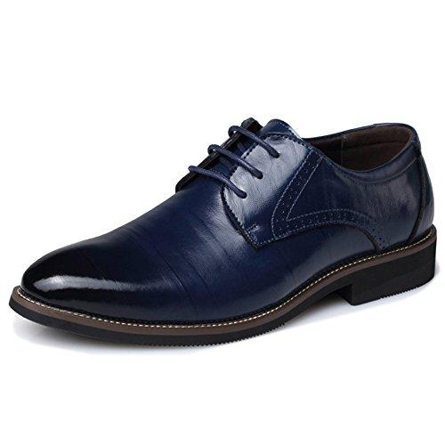 MERRYHE Plus Size Herren Schnürschuhe Aus Echtem Leder Vintage Derby Business Formales Kleid Hochzeit Party Arbeit Plain Toe Schuhe,Blue-48 -