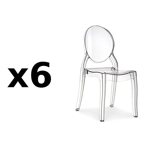 Fashion Commerce, Lot de 6 chaises design impératrice en polycarbonate transparent