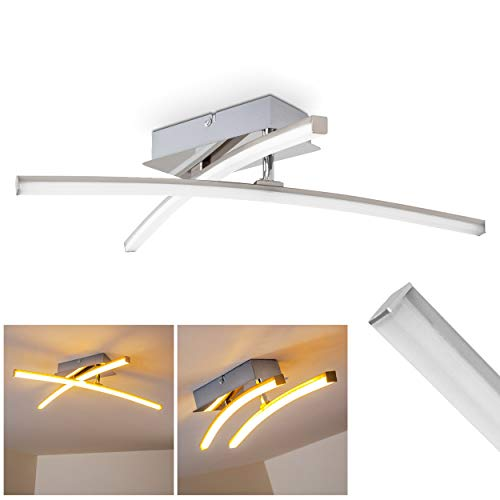 Plafonnier LED Powassan en métal chromé et plastique à 2 bras lumineux pivotants, 10 Watt, 1000 Lumen à 3000 Kelvin (blanc chaud) [classe énergétique A++ à A]