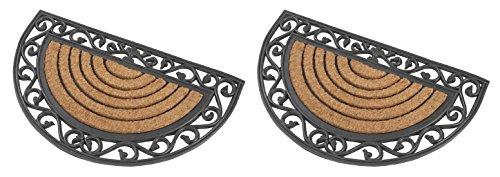 2 x Halbrunde premium Fußmatte aus Gummi und Kokosfasern, 76 x 46 cm | ✓ 3 kg Fußabtreter verhindert verrutschen ✓ Robuste & repräsentative Schmutzfangmatte, Sauberlaufmatte, Schmutzmatte ✓ Fußabstreifer für Eingangsbereich von Haus und Wohnung