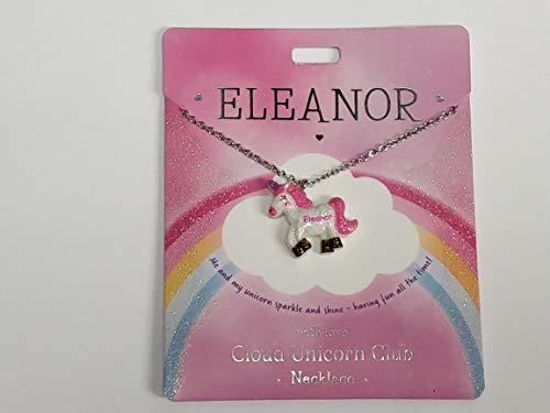 Collier avec licorne avec nom Eleanor écrit sur licorne présenté par Sterling Effectz