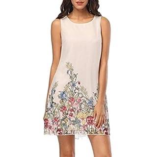 Moonuy_ Women's Fashion Braces Dress Sling Print Summer Casual Ladies Printed Suspender Vest Loose Comfortable Round Neck Temperament Skirt White
