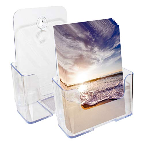 Prospekthalter A5 (2er Pack) - Einzel Fach Flyerhalter H20xB17xD6cm - Prospekt Display-Ständer aus Klarem Acryl - Tisch und Wand Prospektständer für Flyer, Zeitschriften und Kataloge - Dokumentenhalter, Zeitschriftenständer