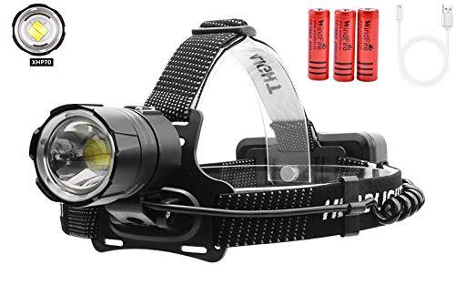 con batterie Ricaricabili 10000 Lumen Fafalloagrron Pesca Corsa Escursionismo Torcia Frontale Ricaricabile a LED Impermeabile per Campeggio