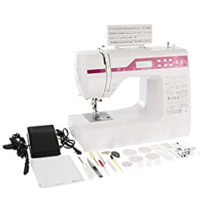 Levivo - Máquina de coser de brazo libre (NC1 con programación por ordenador), blanco y rosa de Levivo