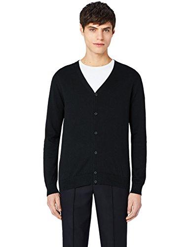 MERAKI Baumwoll-Strickjacke Herren mit V-Ausschnitt Schwarz (Black)