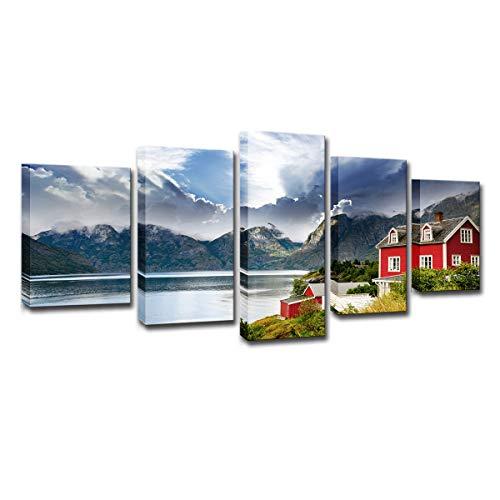 100 Norwegischen Öl-qualität (XINGWENXUE Wandkunst des kreativen Hauses 5 schöne norwegische Gebirgsseehauslandschaftshauptdekoration)