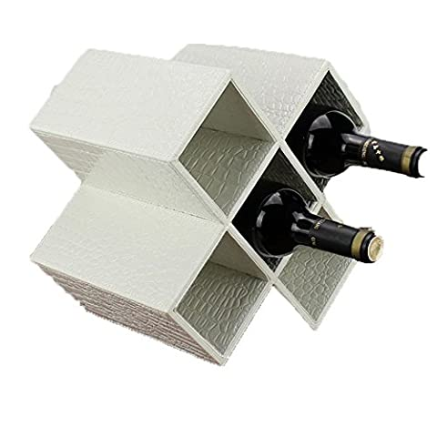 Storage box-Modern Geometric Freestanding Synthetic Leather Wine Rack / 5-Bottle Storage Organizer , 6