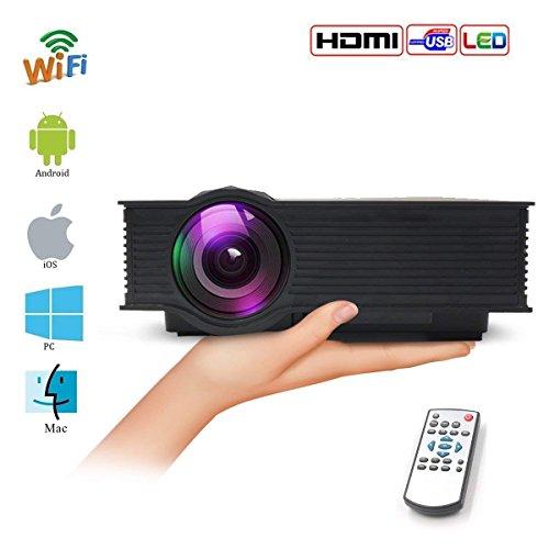 Directtyteam mini led wifi proiettore 1200 lumens,portatile videoproiettore supporto 1080p, interfaccia vga/hdmi/av/usb/tf, supporti android/iphone cellulare/tablet pc,multimediale proiettore home cinema (nero)