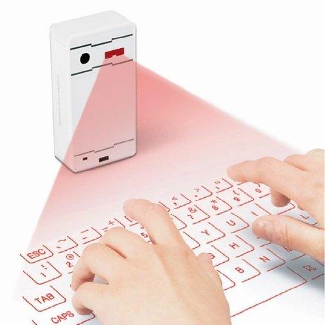 Hangang Laser Tastatur virtuellen Laser Projektion des Portable Mini Wireless Bluetooth QWERTY Tastatur Und Maus für Handy Desktop Tablet PC Android Phone weiß -